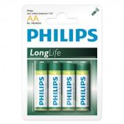 PILHA AA LONG LIFE COM 4 PILHAS LR6P4B/97 - PHILIPS