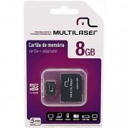 CARTÃO DE MEMÓRIA MICRO SD 8GB COM ADAPTADOR SD MC004 - MULTILASER