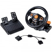 VOLANTE RACER 3 EM 1 WIRELESS PS2 PS3 E PC LARANJA JS074 - MULTILASER