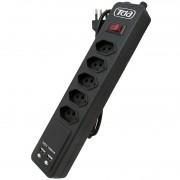 FILTRO DE LINHA 5 TOMADAS COM 2 PORTAS USB PRETO PEO5T2USB - TDA