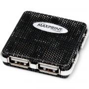HUB MINI USB 2.0 4 PORTAS CONCENTRADOR 500MA PRETO 602443 - MAXPRINT