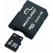 CARTÃO DE MEMÓRIA MICRO SD 32GB COM ADAPTADOR SD CLASSE 10 MC111 - MULTILASER