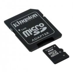 CARTÃO DE MEMÓRIA MICRO SD 8GB COM ADAPTADOR SDC10/8GB - KINGSTON