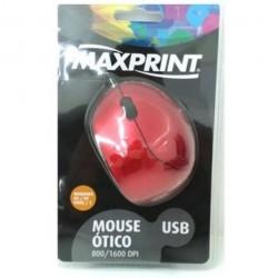 MOUSE ÓPTICO USB VERMELHO 60711-5 - MAXPRINT