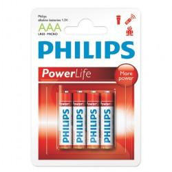 PILHA ALCALINA AAA POWER LIFE COM 4 PILHAS LR03P4B/97 38187 - PHILIPS
