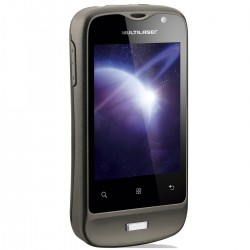 CELULAR 2 CHIPS TOUCHSCREEN ANDROID MARKET BLUETOOTH  CÂMERA 1.3MP PRETO E PRATA P3185 - MULTILASER